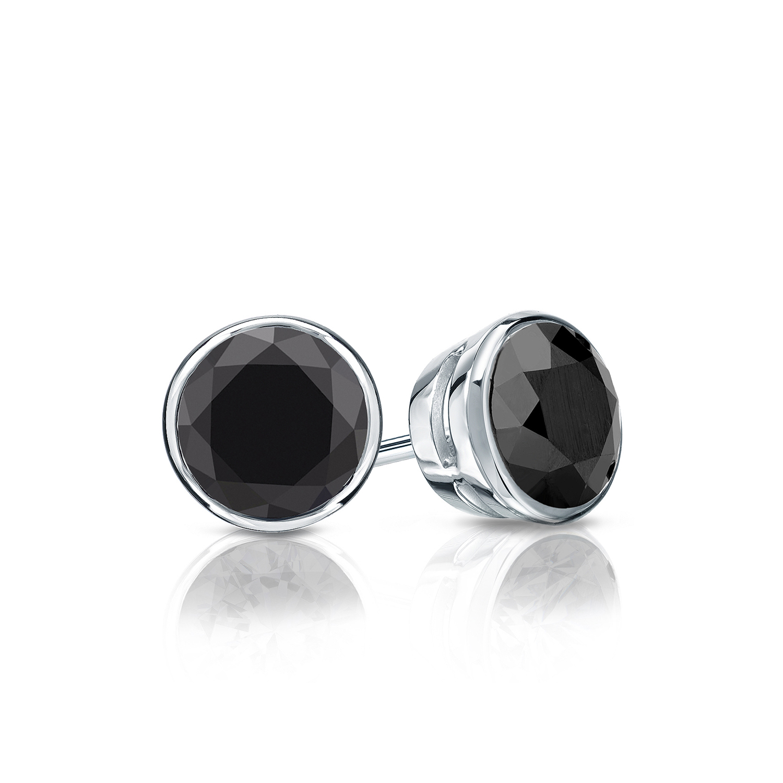 Certified 0.25 cttw Round Black Diamond Stud Earrings in 14k White Gold Bezel (AAA)