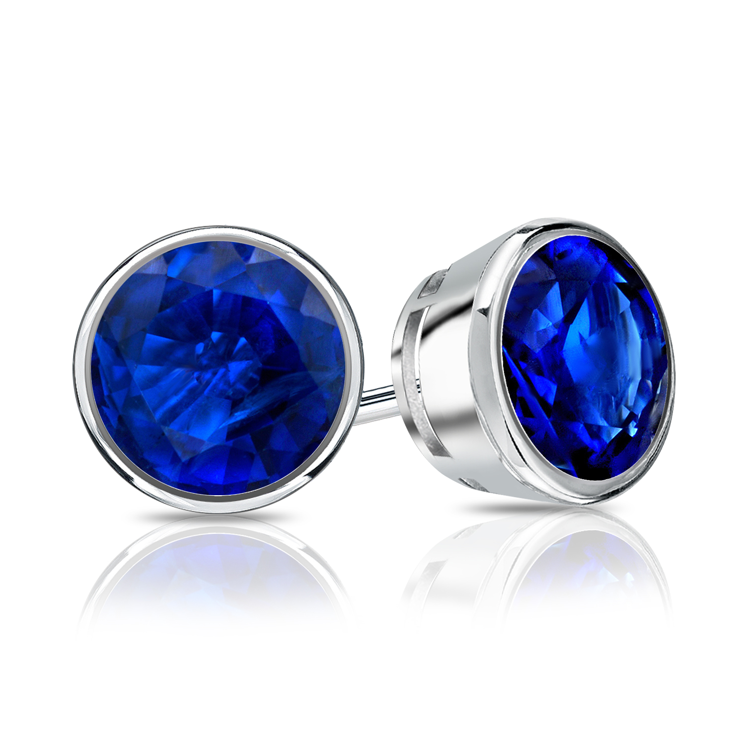 Certified 0.25 cttw Round Blue Sapphire Gemstone Stud Earrings in 14k White Gold Bezel (Blue, AAA)