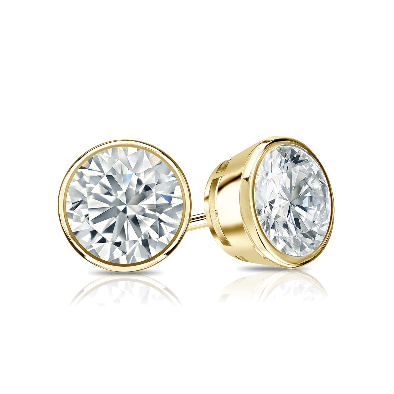 Certified 0.50 cttw Round Diamond Stud Earrings in 18k Yellow Gold Bezel (I-J, I1)