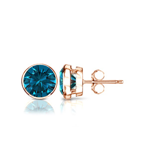 Certified 0.25 cttw Round Blue Diamond Stud Earrings in 14k Rose Gold Bezel (Blue, I1-I2)