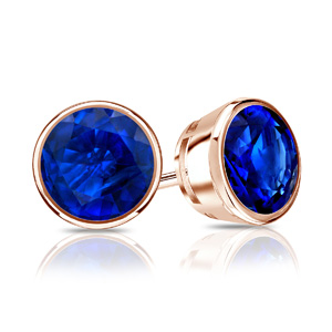 Certified 1.00 cttw Round Blue Sapphire Gemstone Stud Earrings in 14k Rose Gold Bezel (Blue, AAA)