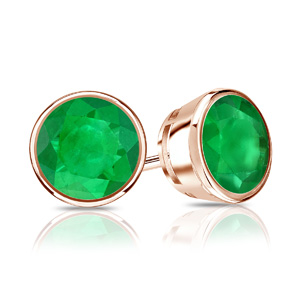 Certified 0.40 cttw Round Green Emerald Gemstone Stud Earrings in 14k Rose Gold Bezel (Green, AAA)