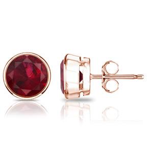 Certified 0.40 cttw Round Ruby Gemstone Stud Earrings in 14k Rose Gold Bezel (Red, AAA)