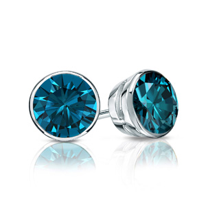 Certified 0.25 cttw Round Blue Diamond Stud Earrings in Platinum Bezel (Blue, SI1-SI2)