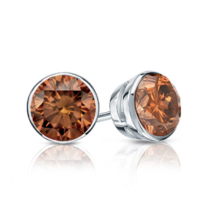 Certified 0.25 cttw Round Brown Diamond Stud Earrings in 14k White Gold Bezel (Brown, SI1-SI2)