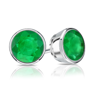 Certified 0.25 cttw Round Green Emerald Gemstone Stud Earrings in 14k White Gold Bezel (Green, AAA)