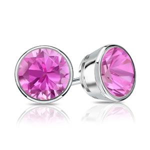 Certified 0.25 cttw Round Pink Sapphire Gemstone Stud Earrings in 14k White Gold Bezel (Pink, AAA)