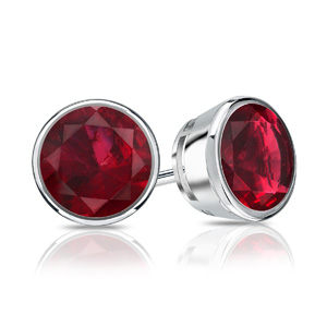 Certified 0.33 cttw Round Ruby Gemstone Stud Earrings in 14k White Gold Bezel (Red, AAA)