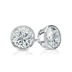 Certified 1.50 cttw Round Diamond Stud Earrings in 14k White Gold Bezel (G-H, VS)