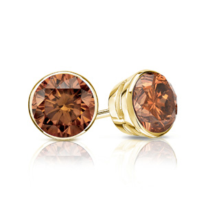 Certified 0.25 cttw Round Brown Diamond Stud Earrings in 14k Yellow Gold Bezel (Brown, SI1-SI2)