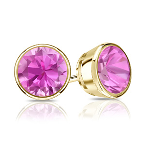 Certified 1.50 cttw Round Pink Sapphire Gemstone Stud Earrings in 14k Yellow Gold Bezel (Pink, AAA)