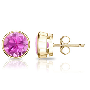 Certified 1.25 cttw Round Pink Sapphire Gemstone Stud Earrings in 14k Yellow Gold Bezel (Pink, AAA)