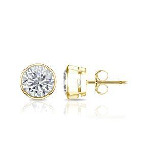 Certified 0.50 cttw Round Diamond Stud Earrings in 18k Yellow Gold Bezel (I-J, I1)