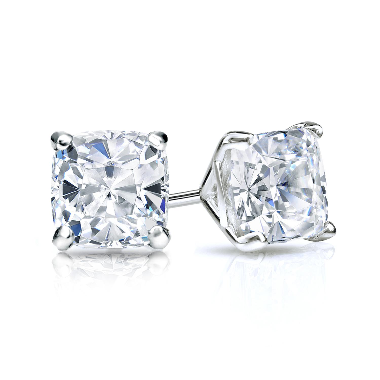 Certified 1.50 cttw Cushion Diamond Stud Earrings in 14k White Gold 4-Prong Martini (I-J, I1)