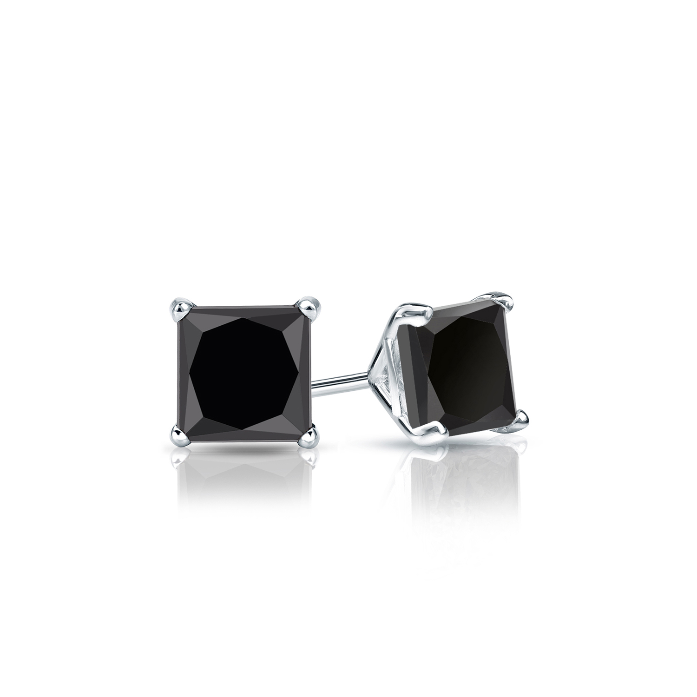 Certified 0.50 cttw Princess Black Diamond Stud Earrings in 14k White Gold 4-Prong Martini (AAA)
