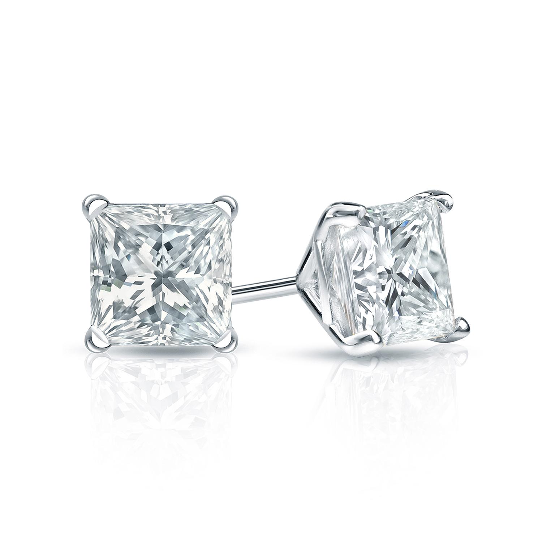 Certified 0.75 cttw Princess Diamond Stud Earrings in 18k White Gold 4-Prong Martini (I-J, I1)
