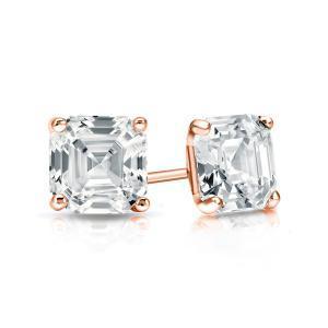 Certified 0.50 cttw Asscher Diamond Stud Earrings in 14k Rose Gold 4-Prong Martini (I-J, I1)