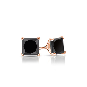 Certified 1.00 cttw Princess Black Diamond Stud Earrings in 14k Rose Gold 4-Prong Martini (AAA)