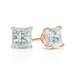 Certified 0.50 cttw Princess Diamond Stud Earrings in 14k Rose Gold 4-Prong Martini (I-J, I1)
