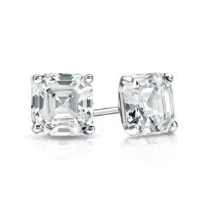 Certified 0.50 cttw Asscher Diamond Stud Earrings in 14k White Gold 4-Prong Martini (I-J, I1)