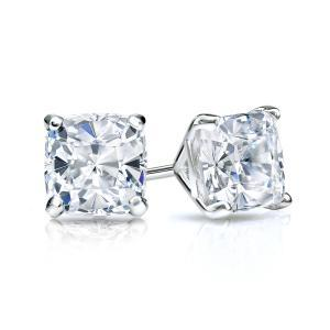 Certified 0.75 cttw Cushion Diamond Stud Earrings in 14k White Gold 4-Prong Martini (G-H, SI)