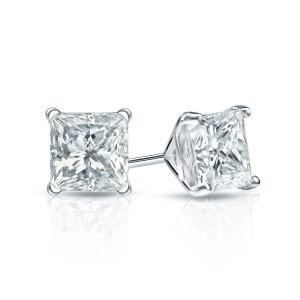 Certified 0.75 cttw Princess Diamond Stud Earrings in 18k White Gold 4-Prong Martini (I-J, I1)