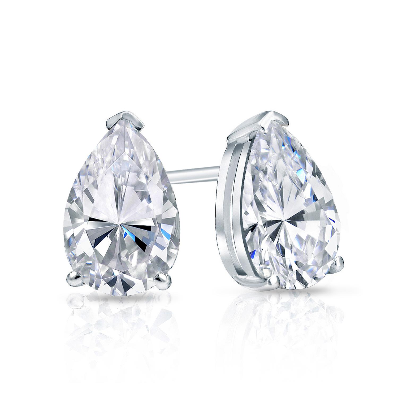 Certified 0.50 cttw Pear Shape Diamond Stud Earrings in 14k White Gold V-End Prong (I-J, I1)