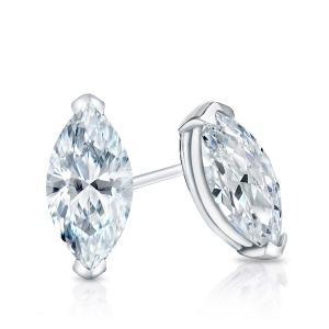 Certified 0.50 cttw Marquise Cut Diamond Stud Earrings in 14k White Gold V-End Prong (I-J, I1)