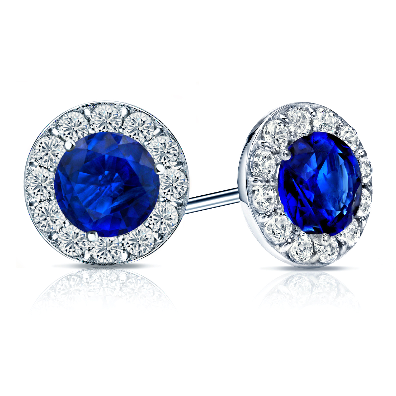 Certified 0.50 cttw Round Blue Sapphire Gemstone Stud Earrings in 14k White Gold Halo (AAA)