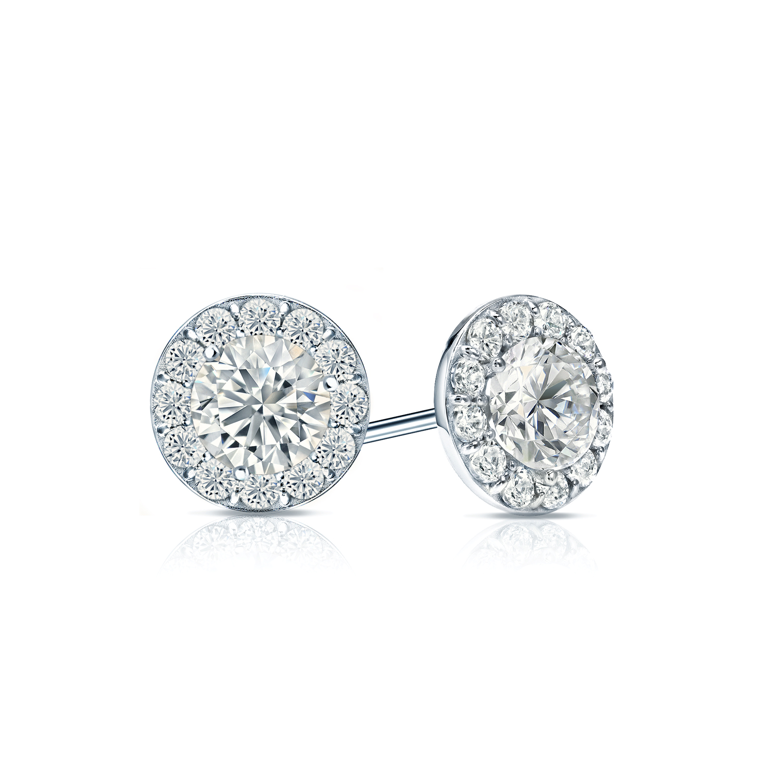 Certified 0.50 cttw Round Diamond Stud Earrings in 14k White Gold Halo (I-J, I1)