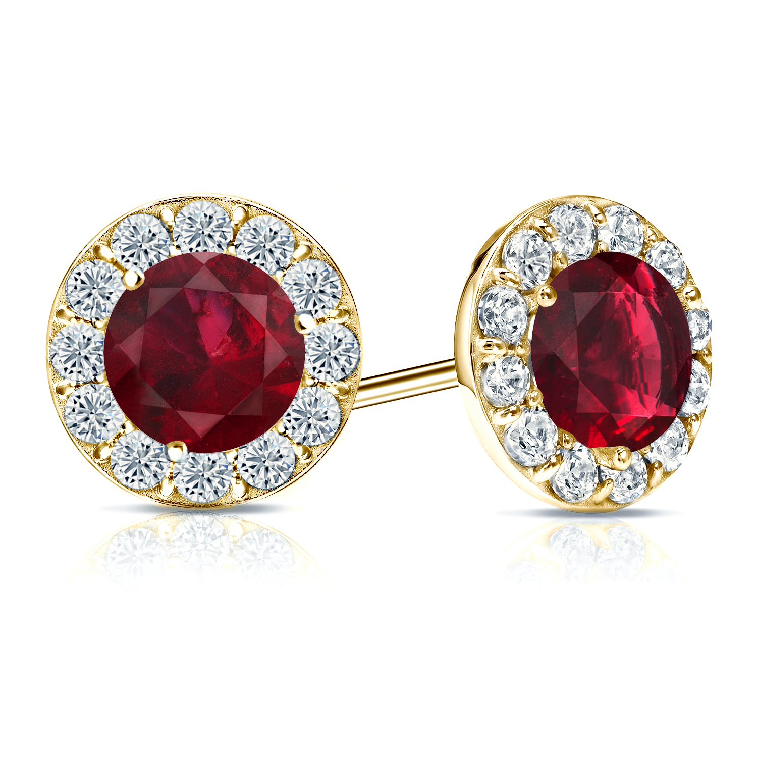 Certified 0.50 cttw Round Ruby Gemstone Stud Earrings in 18k Yellow Gold Halo (AAA)