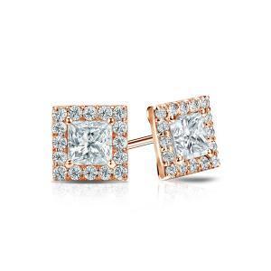 Certified 0.50 cttw Princess Diamond Stud Earrings in 14k Rose Gold Halo (I-J, I1)