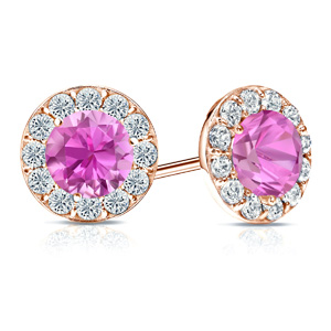 Certified 0.50 cttw Round Pink Sapphire Gemstone Stud Earrings in 14k Rose Gold Halo (AAA)