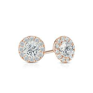 Certified 0.50 cttw Round Diamond Stud Earrings in 14k Rose Gold Halo (I-J, I1)