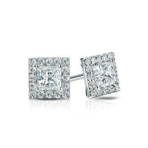 Certified 1.00 cttw Princess Diamond Stud Earrings in 14k White Gold Halo (I-J, I1)