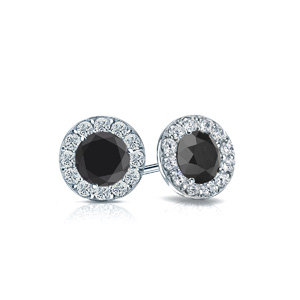 Certified 1.00 cttw Round Black Diamond Stud Earrings in 14k White Gold Halo (AAA)