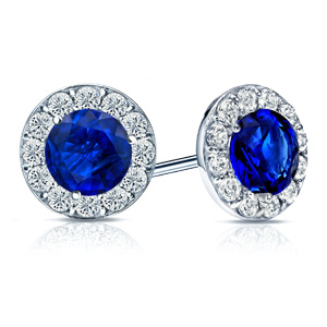 Certified 0.75 cttw Round Blue Sapphire Gemstone Stud Earrings in 14k White Gold Halo (AAA)