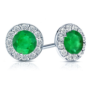 Certified 0.50 cttw Round Green Emerald Gemstone Stud Earrings in 14k White Gold Halo (AAA)