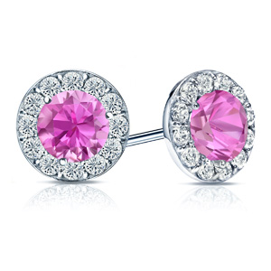 Certified 0.50 cttw Round Pink Sapphire Gemstone Stud Earrings in 14k White Gold Halo (AAA)