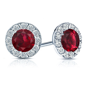 Certified 0.75 cttw Round Ruby Gemstone Stud Earrings in 14k White Gold Halo (AAA)