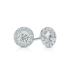 Certified 1.00 cttw Round Diamond Stud Earrings in 14k White Gold Halo (G-H, SI)