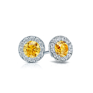 Certified 0.50 cttw Round Yellow Diamond Stud Earrings in 14k White Gold Halo (Yellow, SI1-SI2)