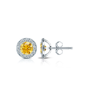Certified 0.75 cttw Round Yellow Diamond Stud Earrings in Platinum Halo (Yellow, SI1-SI2)