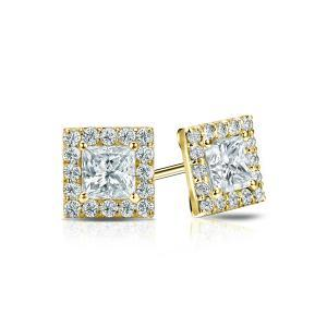 Certified 0.50 cttw Princess Diamond Stud Earrings in 14k Yellow Gold Halo (I-J, I1)