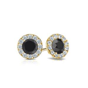 Certified 0.50 cttw Round Black Diamond Stud Earrings in 18k Yellow Gold Halo (AAA)