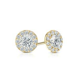 Certified 0.50 cttw Round Diamond Stud Earrings in 14k Yellow Gold Halo (I-J, I1)
