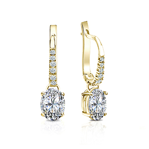 Certified 14k Yellow Gold 4-Prong Basket Oval Diamond Drop Earrings 1.00 ct. tw. (G-H, SI)