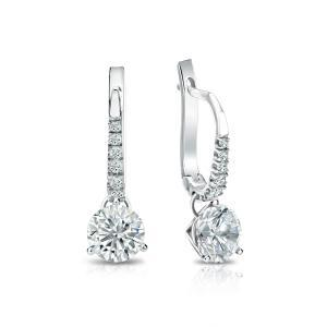 Certified 14k White Gold 3-Prong Martini Round Diamond Drop Earrings 1.75 ct. tw. (I-J, I1)