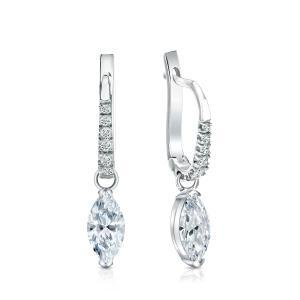 Certified 14k White Gold V-End Prong Marquise Diamond Drop Earrings 1.50 ct. tw. (I-J, I1)