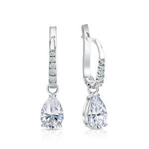 Certified 14k White Gold V-End Prong Pear Diamond Drop Earrings 1.00 ct. tw. (I-J, I1)